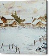 Snowy Village Acrylic Print by Xueling Zou