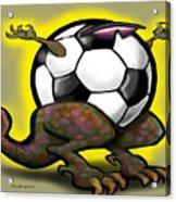 Soccer Saurus Rex Acrylic Print by Kevin Middleton