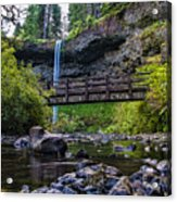 South Silver Falls With Bridge Acrylic Print by Darcy Michaelchuk
