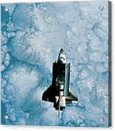 Space Shuttle Orbiting Above Earth Acrylic Print by Stockbyte