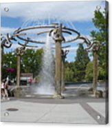 Spokane Fountain Acrylic Print by Carol Groenen