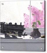 Spring Rain  Electric Train Acrylic Print by Gary Giacomelli
