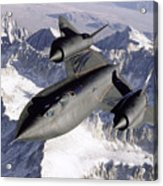 Sr-71b Blackbird In Flight Acrylic Print by Stocktrek Images