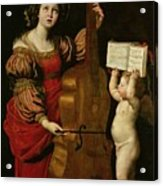 St. Cecilia With An Angel Holding A Musical Score Acrylic Print by Domenichino