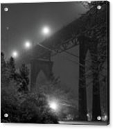 St. Johns Bridge On Snowy Evening Acrylic Print by Zeb Andrews