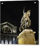 St Louis Art Museum With Statue Of Saint Louis At Night Acrylic Print by David Coblitz
