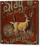 Stag Record Breaker Sign Acrylic Print by JQ Licensing