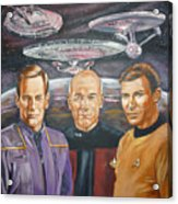 Star Trek Tribute Enterprise Captains Acrylic Print by Bryan Bustard