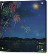 Starry Night At Crooked Creek Marina Acrylic Print by Jackie Hill