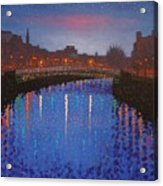 Starry Nights In Dublin Ha' Penny Bridge Acrylic Print by John  Nolan