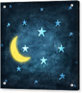 Stars And Moon Drawing With Chalk Acrylic Print by Setsiri Silapasuwanchai