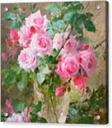 Still Life Of Roses In A Glass Vase  Acrylic Print by Frans Mortelmans