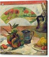 Still Life With A Fan Acrylic Print by Paul Gauguin