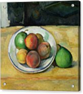 Still Life With A Peach And Two Green Pears Acrylic Print by Paul Cezanne