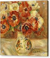 Still Life With Anemones  Acrylic Print by Pierre Auguste Renoir