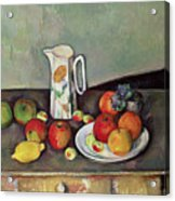 Still Life With Milkjug And Fruit Acrylic Print by Paul Cezanne