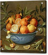 Still Life With Oranges And Lemons In A Wan-li Porcelain Dish  Acrylic Print by Jacob van Hulsdonck