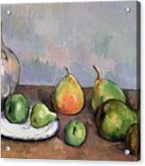 Still Life With Pitcher And Fruit Acrylic Print by Paul Cezanne