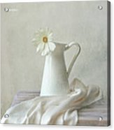 Still Life With White Flower Acrylic Print by by MargoLuc