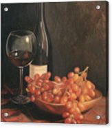 Still Life With Wine And Grapes Acrylic Print by Anna Rose Bain
