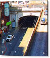 Stockton Street Tunnel In Heavy Shadow . Long Version Acrylic Print by Wingsdomain Art and Photography