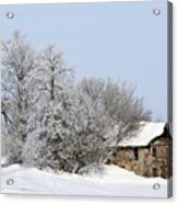 Stone House In Winter Acrylic Print by Gary Gunderson