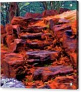 Stone Steps In Autumn Acrylic Print by Jeff Kolker