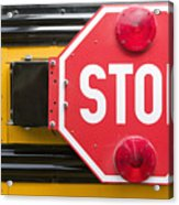 Stop Sign On School Bus Acrylic Print by Andersen Ross