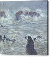 Storm Off The Coast Of Belle Ile Acrylic Print by Claude Monet