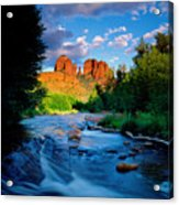 Stormlight On Red Rock Crossing Acrylic Print by Kerrick James