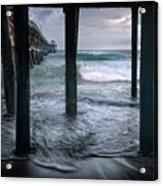 Stormy Pier Acrylic Print by Gary Zuercher