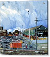 Stormy Sky Over Shipyard And Steel Mill Acrylic Print by Asha Carolyn Young