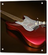 Stratocaster On A Golden Floor Acrylic Print by James Barnes