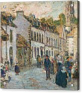 Street In Pont Aven Acrylic Print by Childe Hassam