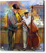 Street Musicians In Prague In The Czech Republic 01 Acrylic Print by Miki De Goodaboom