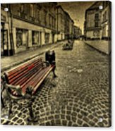 Street Seat Acrylic Print by Evelina Kremsdorf