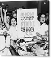 Striking Women Employees Of Woolworths Acrylic Print by Everett