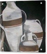 Striped Water Jars Acrylic Print by Trudy-Ann Johnson