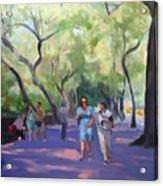 Strolling In Central Park Acrylic Print by Merle Keller