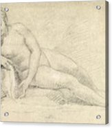 Study Of A Female Nude  Acrylic Print by William Hogarth