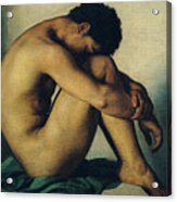 Study Of A Nude Young Man Acrylic Print by Hippolyte Flandrin