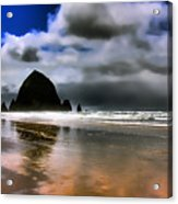 Sun Shining On Haystack Rock Acrylic Print by David Patterson
