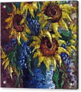 Sunflower Bouquet Acrylic Print by David G Paul