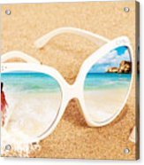Sunglasses In The Sand Acrylic Print by Amanda Elwell