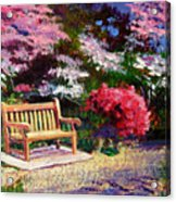 Sunny Bench Plein Aire Acrylic Print by David Lloyd Glover