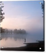 Sunrise Fishing In The Yellowstone River Acrylic Print by Michael S. Lewis