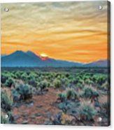 Sunrise Over Taos Acrylic Print by Charles Muhle