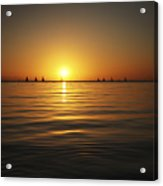 Sunset And Sailboats Acrylic Print by Brandon Tabiolo - Printscapes