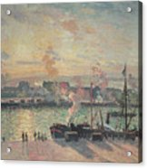 Sunset At Rouen Acrylic Print by Camille Pissarro
