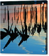 Sunset In Colonial Beach Virginia Acrylic Print by Clayton Bruster